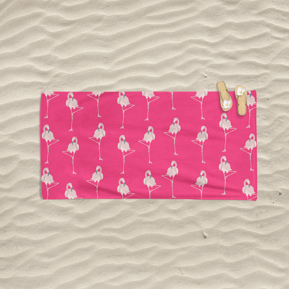 Pink Flamingo Beach Towel