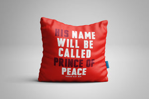 Fun, Festive Prince of Peace Christmas Isaiah 9:6 Scripture Throw Pillow