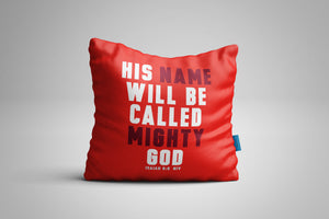 Fun, Festive Mighty God Christmas Isaiah 9:6 Scripture Throw Pillow