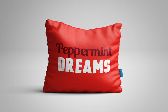 Fun, Festive Peppermint Dreams Red Christmas Throw Pillow