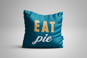 Fun, Festive Eaet Pie Dark Teal Throw Pillow