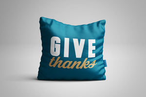 Fun, Festive Give Thanks Dark Teal Throw Pillow