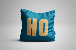 Fun, Festive Gold HO HO HO Dark Teal Throw Pillow
