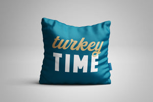 Fun, Festive Turkey Time Dark Teal Throw Pillow
