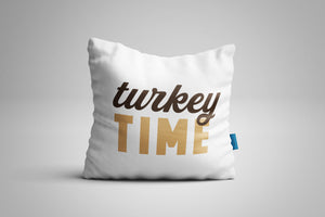 Fun, Festive Turkey Time White Throw Pillow