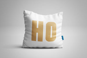 Fun, Festive Gold HO HO HO White Christmas Throw Pillow