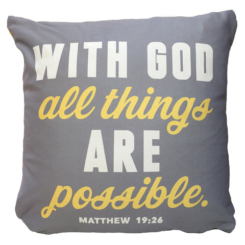 With God All Things Are Possible Throw Pillow