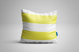 Fun, Festive White and Yellow Striped Throw Pillow
