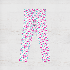 Girls Fluttering Heart Pink and Aqua Youth Leggings