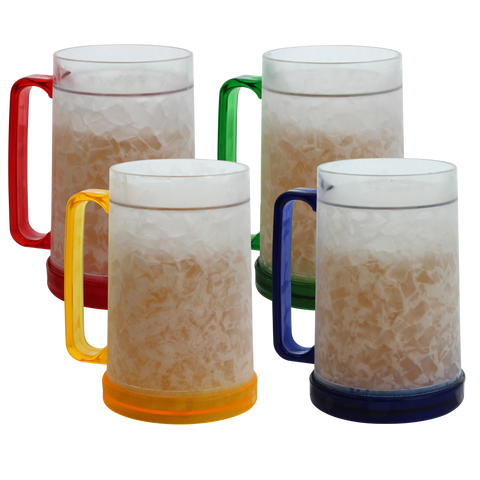 Double Wall Frosty Freezer Mugs 16oz, Set of Four, Assorted Colors (Red, Yellow, Blue, Green) …