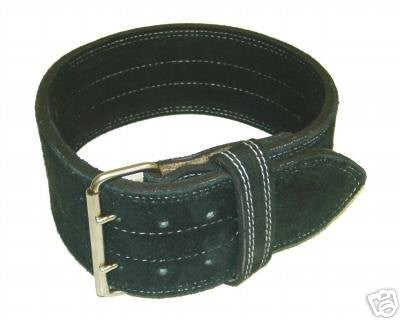 "Leather Power Weight Lifting Belt- 4"" Black (Medium)"