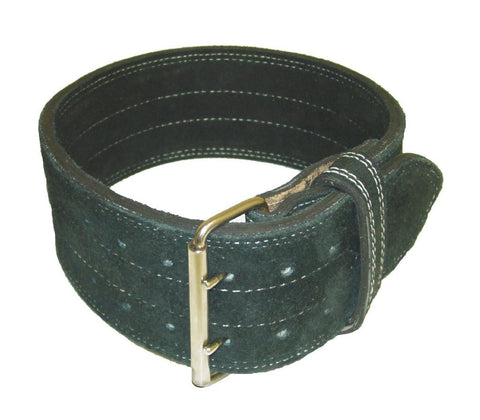 "Leather Power Weight Lifting Belt- 4"" Black (Large)"