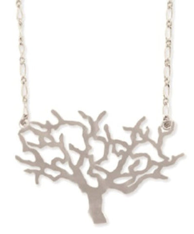 "Zad Matte Silver-Tone Metal Tree Cutout Necklace 16""-18"""