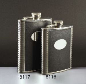 Franmara Deluxe Leather-Bound Captive-Top Pocket Flask  8 oz.