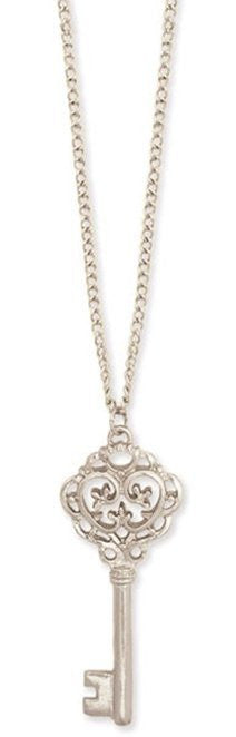 Silver Metal Ornate Key Pendant Necklace