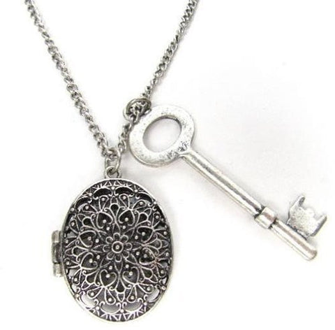 ZAD Vintage Look Large Key and Oval Filigree Cutout Locket Charm Necklace on ...