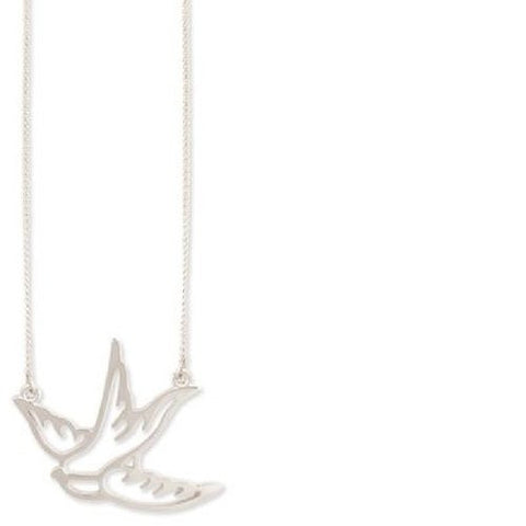 Small Silver Metal Cutout Swallow Necklace