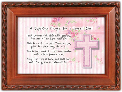 Baptismal Baptism Prayer Girl Woodgrain Inspirational Music Box Keepsake Play...