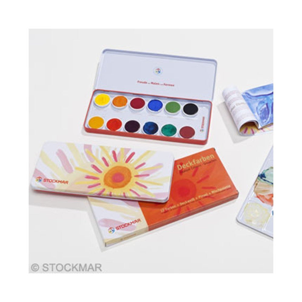 Stockmar Opaque Colour Box Set (12 colours pan paints opaque white paint tube brush and palette)