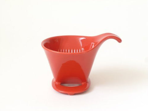 Bee House Ceramic Coffee Dripper - Large - Drip Cone Brewer (Tomato Red)