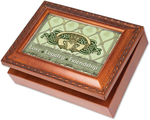 Cottage Garden Irish Love Loyalty Claddagh Woodgrain Music Box / Jewelry Box ...