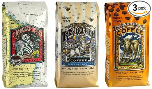 Raven's Brew Whole Bean Coffee Variety Pack  Number 1  12 Ounce (Pack of 3)