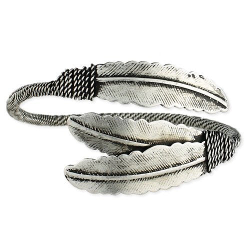 Silver Two Feathers Wrap Bracelet