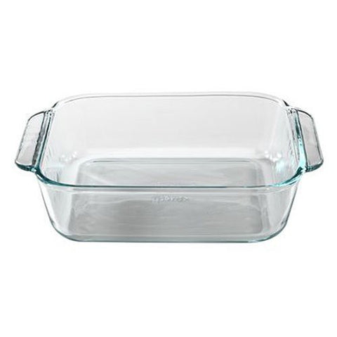 Pyrex Basics 8-Inch Square Baking Dish  Clear Set of 2