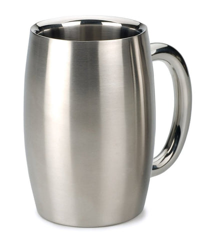 RSVP International Endurance Stainless Steel Double Walled Beer Mug  Set of 2