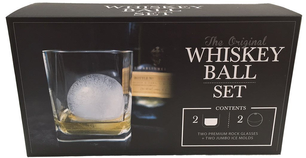 The Original Whiskey Ball DUO Gift Set (includes 2 round ice molds 2 premium rock glasses)
