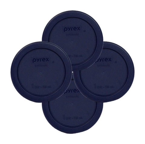 Pyrex Round 1 Cup  236mL Storage Lid Cover Blue 4 Pack # 7202-PC
