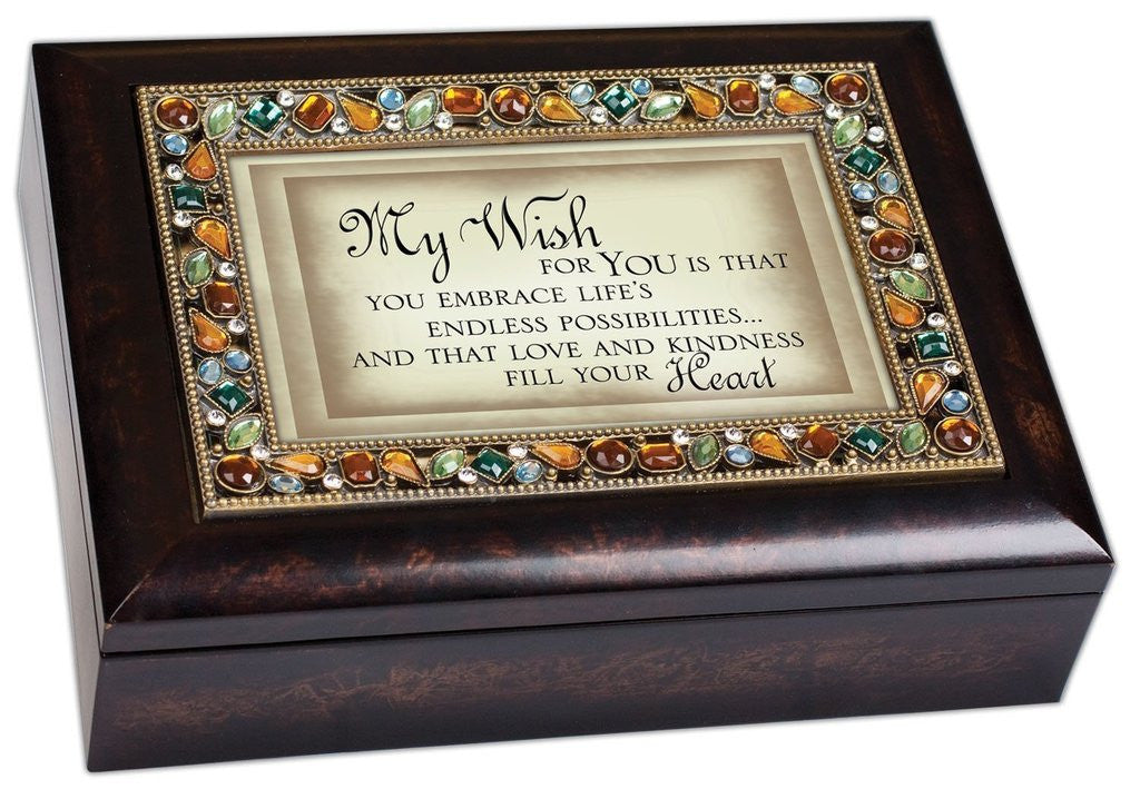 My Wish for You Inspirational Italian Style Burlwood Finish Decorative Jewel ...