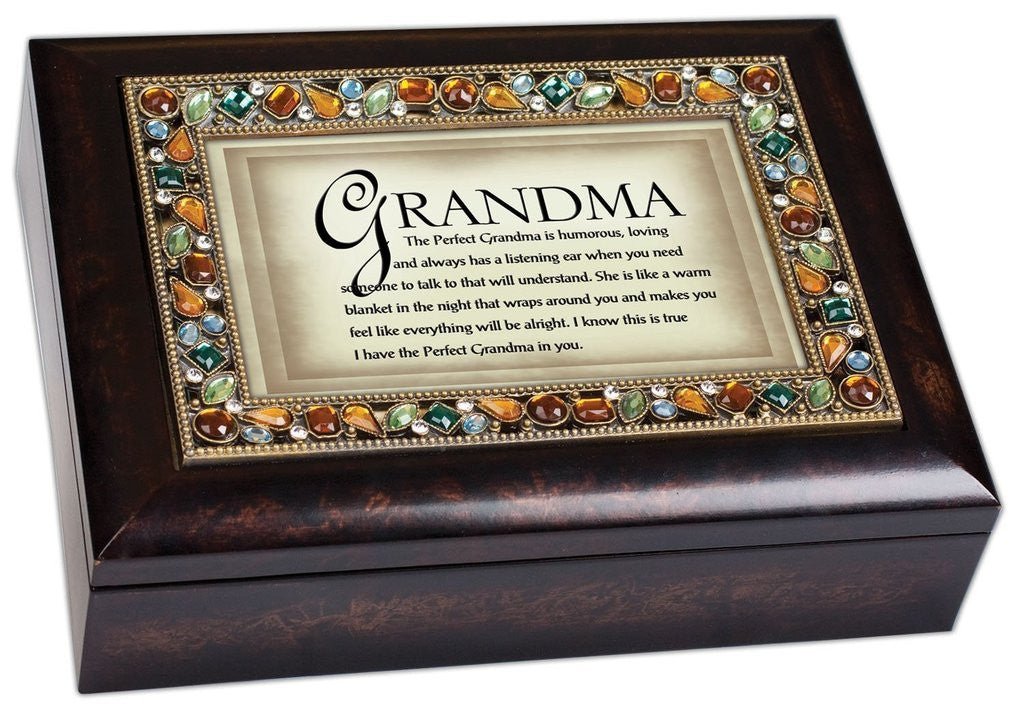 The Perfect Grandma Italian Style Wood Finish Jewel Lid Musical Jewelry Box -...