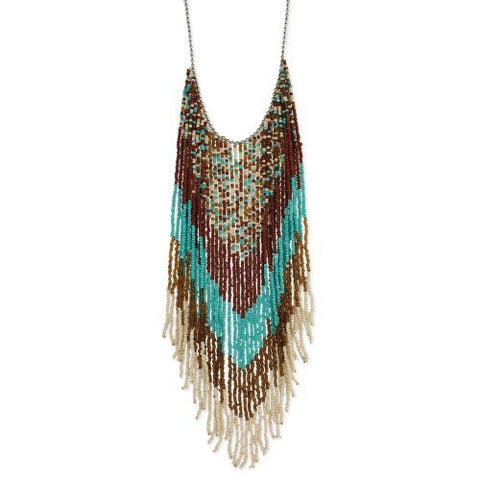 Southwest Beaded Multi-Colored Fringe Necklace