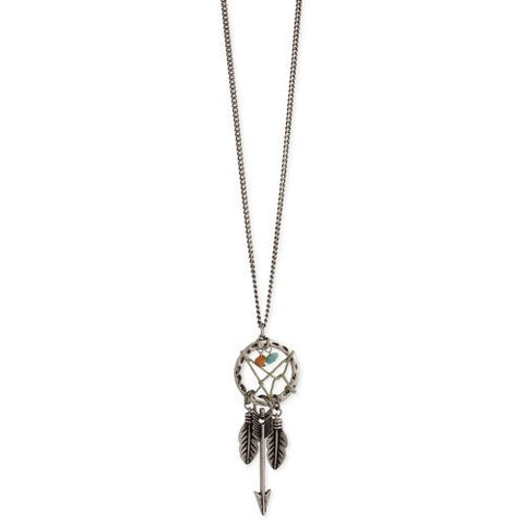 Zad Womens Antiqued Dreamcatcher & Charm Necklace (Silver-Tone)