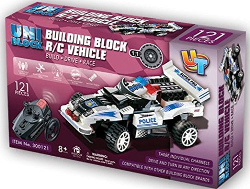 UniBlock Remote Controlled RC Building Block Police Car High Speed Chase Vehi...