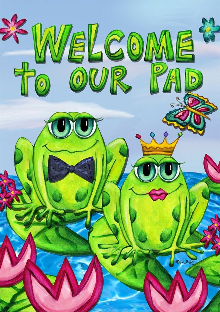 Frogs Couple Welcome Garden Flag