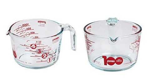 Pyrex Prepware 4-Cup 100th Year Anniversary Measuring Cup Clear Glass Red Mea...
