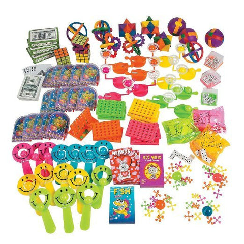 100 piece Toy and Game Assortment Party Favor Prize Pack