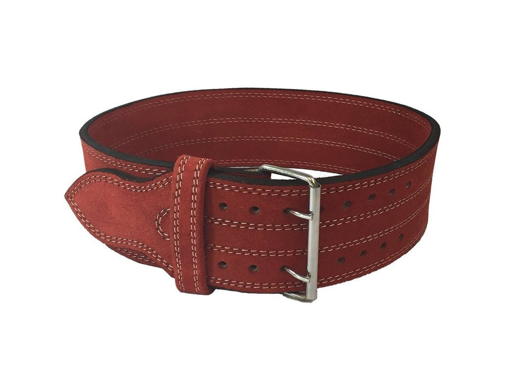 "Leather Weight Lifting Belt 4"" (Red Large)"