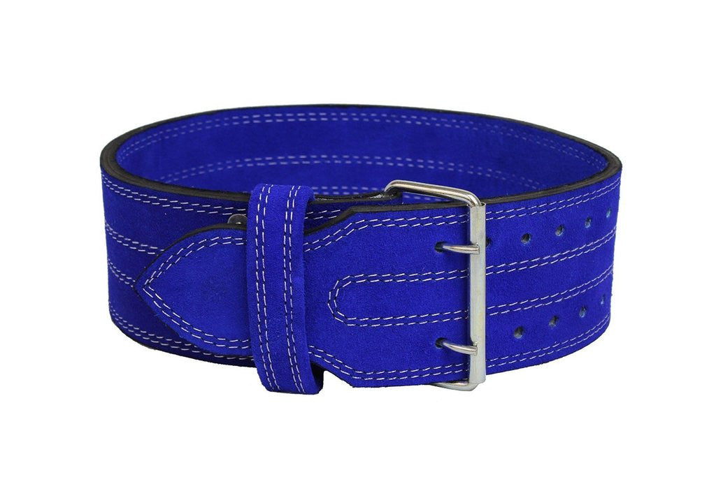 "Leather Weight Lifting Belt 4"" (Blue Small)"