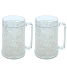 Double Wall Gel Frosty Freezer Mugs 16oz, Set of Two, Clear