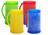 Double Wall Color Frosty Freezer Mugs, 14oz, Set of Four, Assorted Colors (Red, Blue, Green, Yellow) …