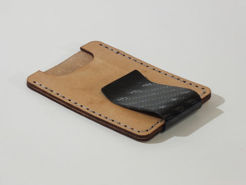 Money Clip + Leather Card Pouch, 4X4 Carbon Fiber