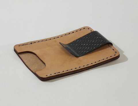 Money Clip + Leather Card Pouch, 2x2 Carbon Fiber