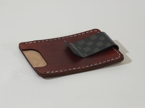 Money Clip + Leather Card Pouch, Spread Tow Carbon Fiber