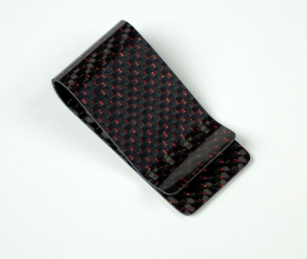 Money Clip - 2x2 with Metallic Red Lacing Carbon Fiber