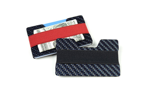 Band Wallet - 2x2 with Blue Metallic Lacing Carbon Fiber