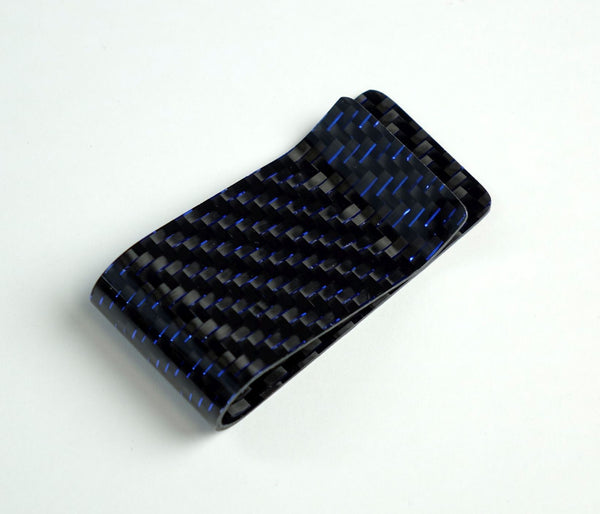 Money Clip - 2x2 with Metallic Blue Lacing Carbon Fiber