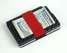 Load image into Gallery viewer, MagWallet - 2x2 with Blue Metallic Lacing Carbon Fiber